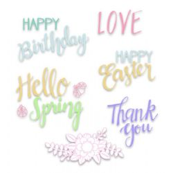 663587 - Sizzix Clear Stamps - Spring Phrases by Lynda Kanase